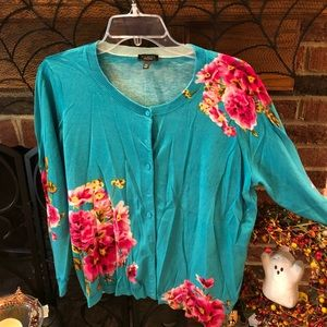 Talbots vibrant teal and rose colored sweater